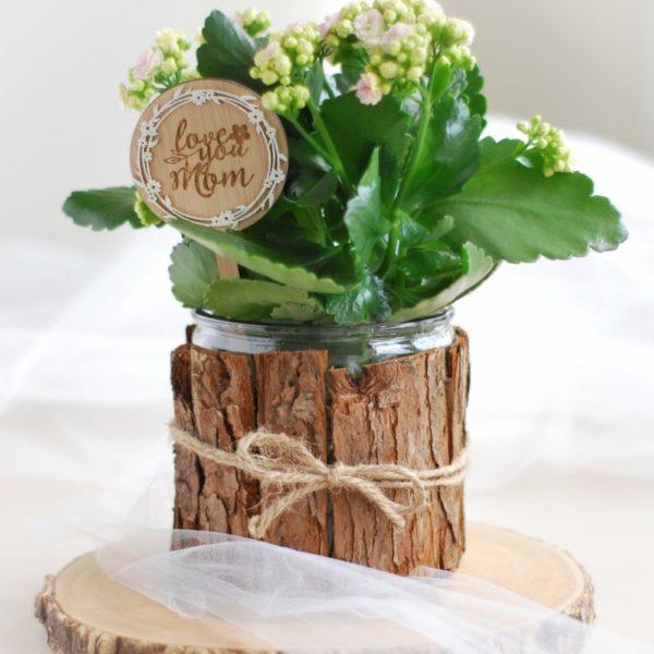 love you mom pot plant flower stick