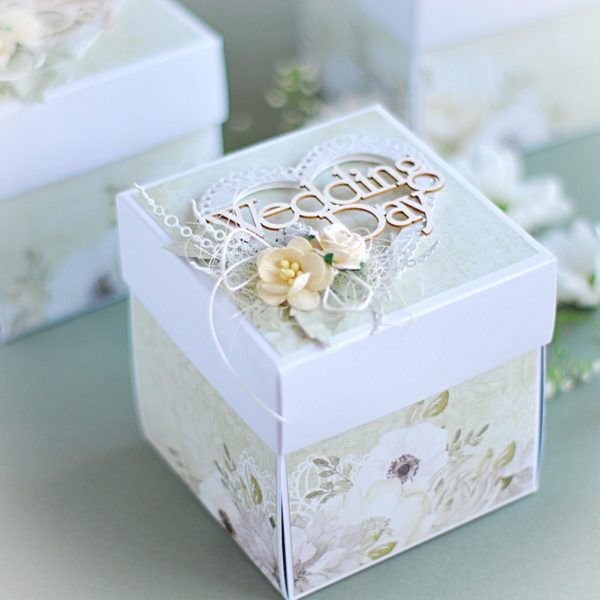 wedding exploding box card with cake