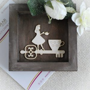 Alice in Wonderland key teacup teapot decorative laser cut chipboard element