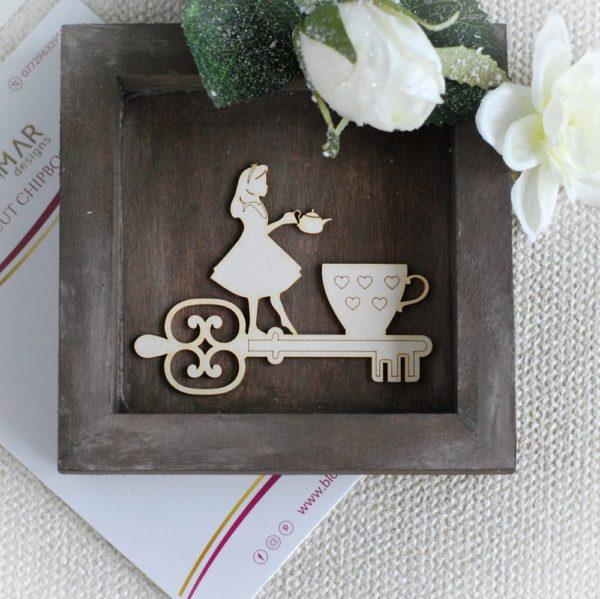 Alice in Wonderland key teacup teapot decorative laser cut chipboard element