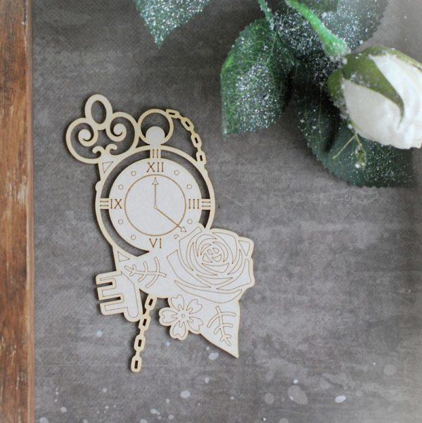 Alice in Wonderland clock, key, rose chipboard element