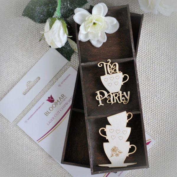 Alice in Wonderland tea party chipboard elements