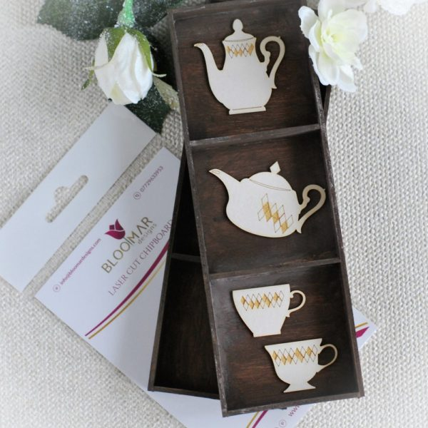 Alice in Wonderland teacups and teapots chipboard elements