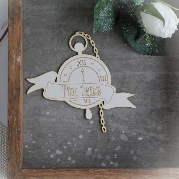Alice in Wonderland big clock decorative chipboard element