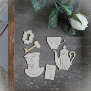 Alice in Wonderland decorative chipboard elements