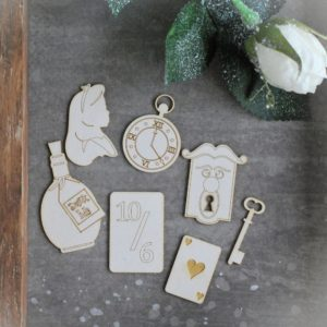 Alice in Wonderland chipboard elements set