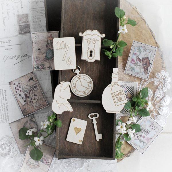 alice in wonderland set of decorative laser cut chipboard embellishments