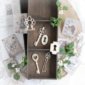 alice in wonderland keys decorative laser cut chipboard embellishment