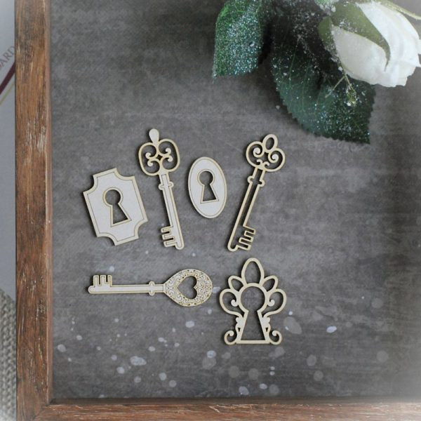 Alice in Wonderland key and keyholes laser cut chipboard elements set