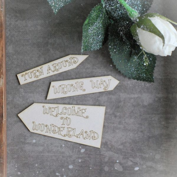 Alice in Wonderland signs chipboard elements