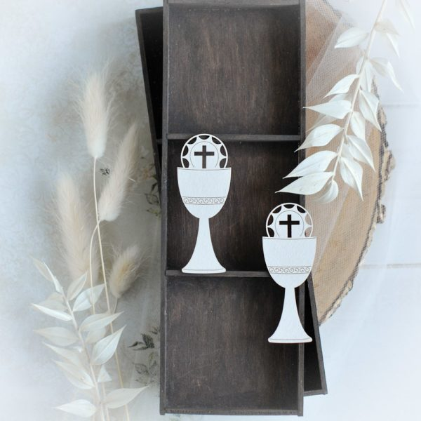 first holy communion set of two chalice laser cut chipboards