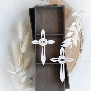first holy communion set of two cross laser cut chipboard elements