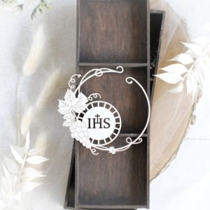 first holy communion frame with ihs decorative laser cut chipboard