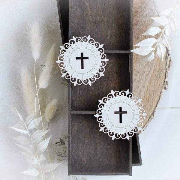 first holy communion set of two host decorative laser cut chipboards