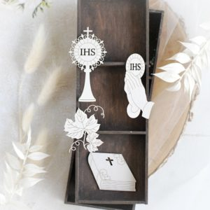 first holy communion set of decorative laser cut chipboard elements