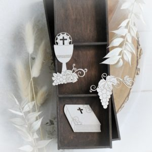 set of three first holy communion decorative laser cut chipboards