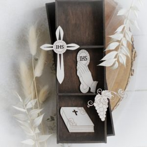 set of four first holy communion decorative laser cut chipboard elements