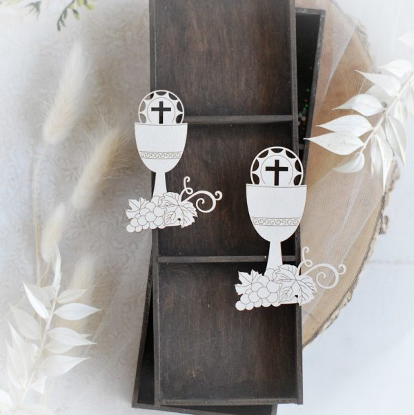 first holy communion set of two chalice decorative laser cut chipboard elements
