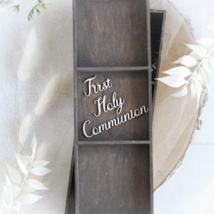 first holy communion words set decorative laser cut chipboard