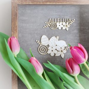 alleluja easter laser cut chipboard, bunny, eggs, flowers