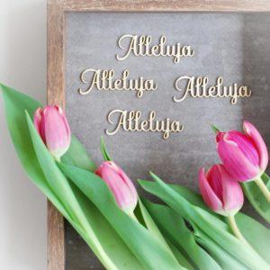 set of four decorative laser cut chipboard Alleluja words