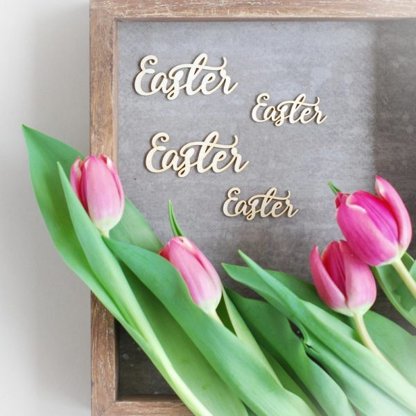 set of four decorative laser cut chipboard Easter words