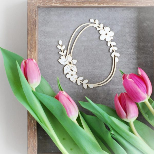decorative laser cut chipboard easter egg with flowers