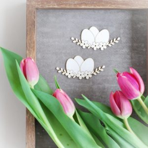 easter eggs with flowers decorative laser cut chipboard elements