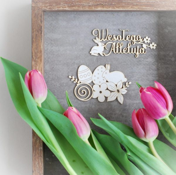 wesolego alleluja laser cut chipboard set, easter bunny, flowers, easter eggs