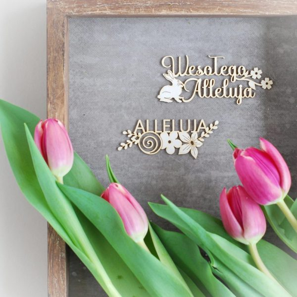 wesolego alleluja and alleluja with flowers and bunny laser cut chipboards elements