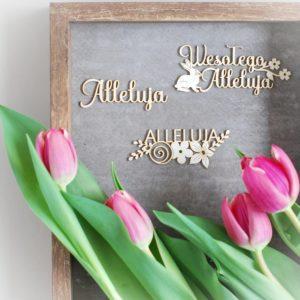 set of three decorative laser cut chipboard alleluja, wesolego alleluja words