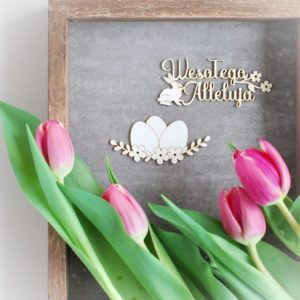 wesolego alleluja with flowers and bunny and easter eggs decorative laser cut chipboard element