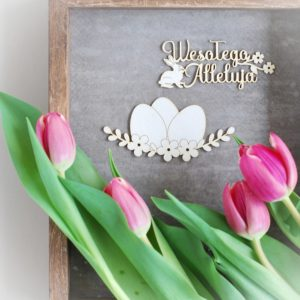 wesolego alleluja and easter eggs with flowers and bunny set of two decorative laser cut chipboard elements