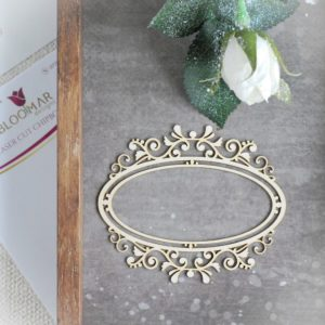 decorative laser cut chipboard frame with ornaments