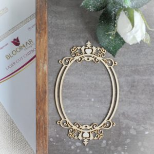 decorative laser cut chipboard oval frame with ornament