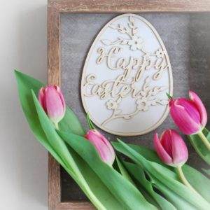2 layer large decorative laser cut Happy Easter egg chipboard