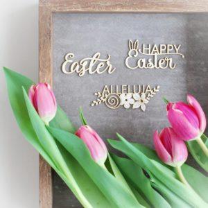 set of three laser cut chipboard Easter, Happy Easter, Alleluja words