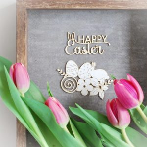 happy easter chipboard words and easter flowers, eggs, bunny