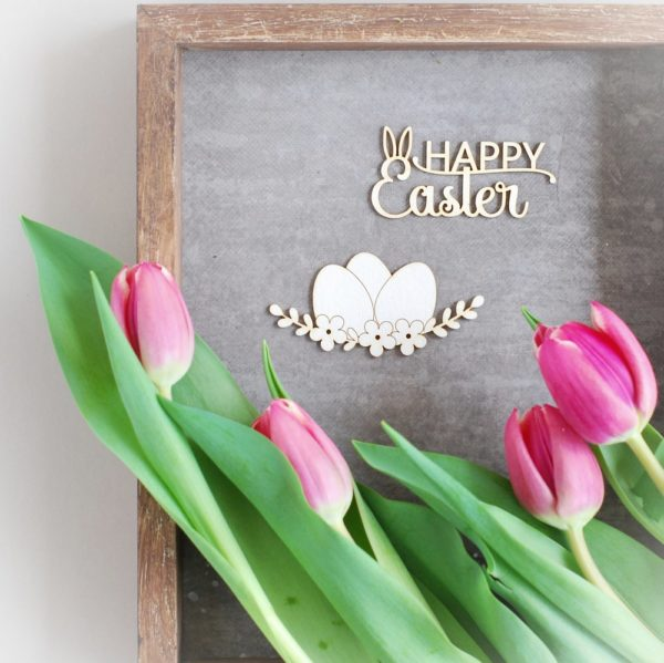 happy easter and eggs decorative laser cut chipboards set