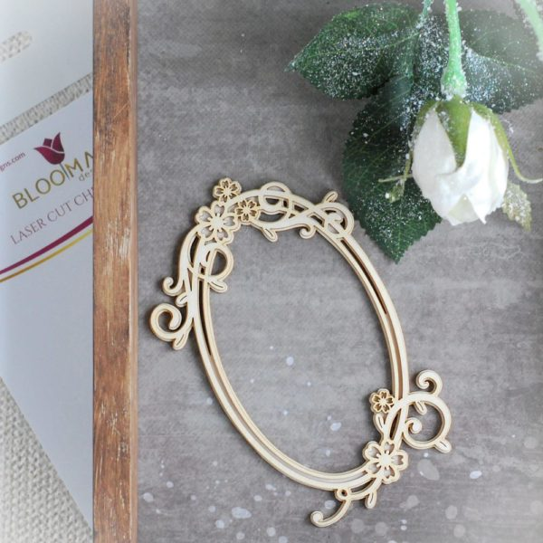 2 layer decorative laser cut chipboard oval frame with flowers