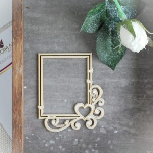 2 layer decorative laser cut rectangle chipboard frame with hearts and swirls