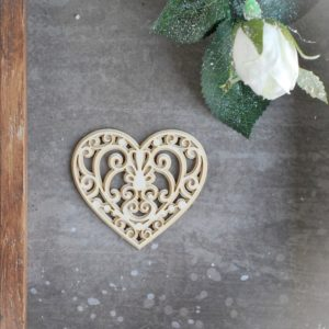2 layer decorative laser cut chipboard heart with swirls