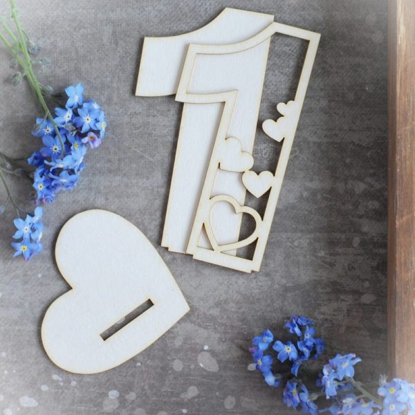 2d number one with hearts decorative laser cut chipboard
