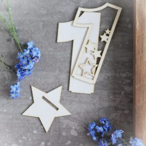 2d number one with stars decorative laser cut chipboard