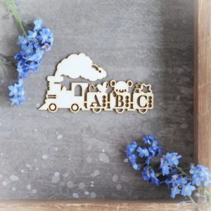 1st birthday abc train with teddy bear and stars decorative laser cut chipboard