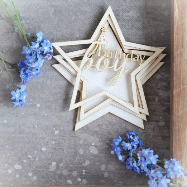 birthday boy star shaker box decorative laser cut chipboard