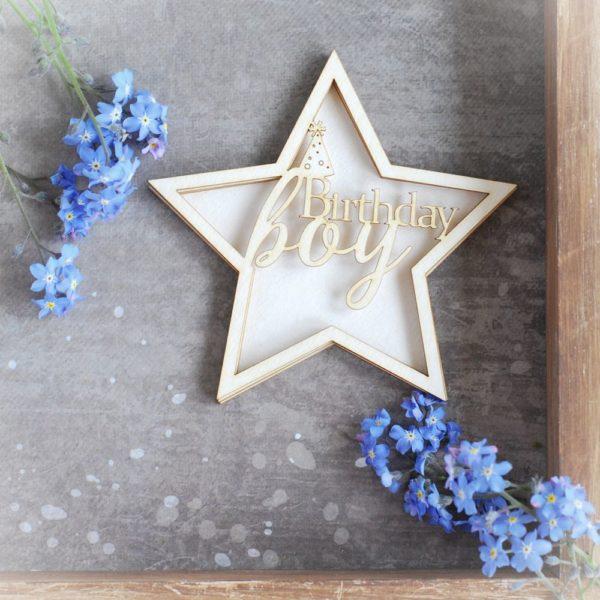 1st birthday boy star shaker box decorative laser cut chipboard