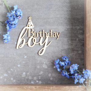 birthday boy decorative laser cut chipboard
