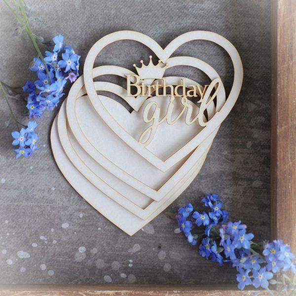 birthday girl heart shape shaker box decorative laser cut chipboard