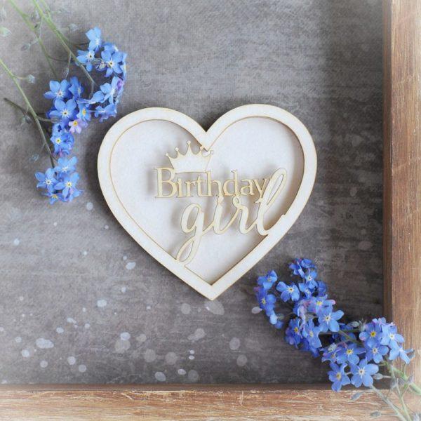 birthday girl heart shaker box decorative laser cut chipboard